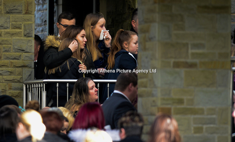 """Pictured: The funeral of Nyah James at Swansea Crematorium, Wales, UK. Thursday 02 March 2017<br /> Re: The funeral of 14-year-old Nyah James who was discovered dead in bed by her mother, took place at Swansea Crematorium.<br /> Nyah James was found at her home in Blaenymaes, Swansea, by her mum when she tried to wake her for school.<br /> Dominique Williams said her """"beautiful daughter"""" took an overdose of prescription tablets after being bullied on Snapchat and Facebook.<br /> The 45-year-old said she wants justice for her little girl as she claims the bullies need to """"pay for what they've done""""."""