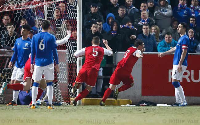 Ross Forsyth celebrates his goal for Stirling Albion
