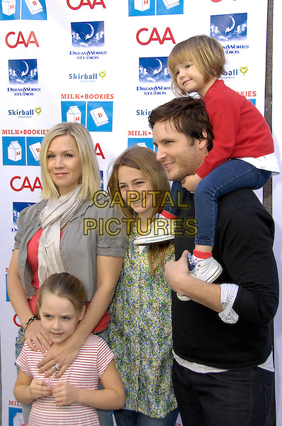 JENNIE GARTH, LOLA RAY, LUCA BELLA, PETER FACINELLI & FIONA EVE .To help raise children's literacy awareness, Milk & Bookies hosted its 1st annual story time with celebrities volunteering to support the charity, Skirball Cultural Center, Los Angeles, CA, USA, February 28th, 2010.+ half length married couple daughters kids children on shoulders daughter husband wife family father dad mother mum mom parents.CAP/CEL/RL.©Rich Linton/CelPh/Capital Pictures.