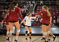 Stanford, CA - October 18, 2019: Audriana Fitzmorris, Morgan Hentz, Jenna Gray at Maples Pavilion. The No. 2 Stanford Cardinal swept the Colorado Buffaloes 3-0.