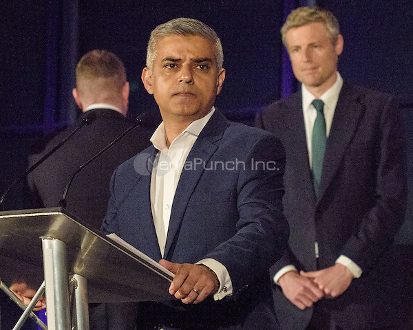 Sadiq Khan, the new London Mayor, at the results announcement in London's City Hall, May 07, 2016. L-R (back to Khan) Paul Golding Britain First, Sadiq Khan Labour, Zac Goldsmith Conservative.   <br /> CAP/CAM<br /> &copy;CAM/Capital Pictures /MediaPunch ***NORTH AMERICAN AND SOUTH AMERICAN SALES ONLY***