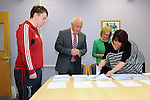 12/8/2015  Sean Gleeson, Castleconnell, collecting his results from Principle Padraig Flannagan, Castletroy College, Minister for Education and Skills Jan O' Sullivan and Eimear Quinn, Castletroy College.<br /> Pic: Gareth Williams / Press 22