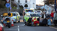 2016 03 05 Police and ambulance attend an RTA in Mumbles, Wales, UK