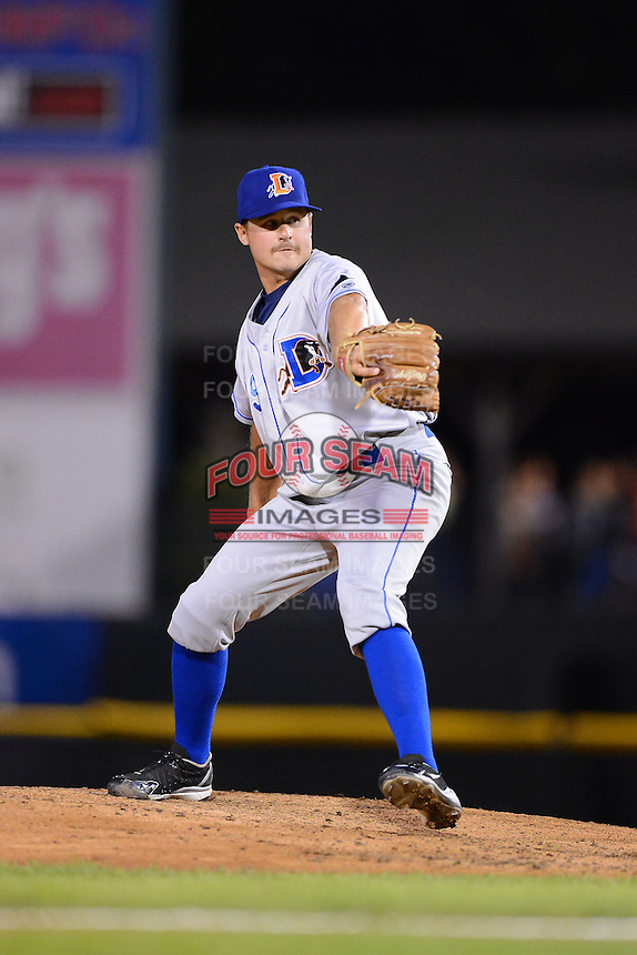 Durham Bulls pitcher Austin Hubbard #39 during a game against the Rochester Red Wings on May 17, 2013 at Frontier Field in Rochester, New York.  Rochester defeated Durham 11-6.  (Mike Janes/Four Seam Images)
