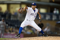Durham Bulls relief pitcher Jordan Norberto (77) in action against the Indianapolis Indians at Durham Bulls Athletic Park on August 4, 2015 in Durham, North Carolina.  The Indians defeated the Bulls 5-1.  (Brian Westerholt/Four Seam Images)