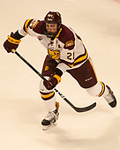 Carson Soucy (UMD - 21) - The University of Minnesota Duluth Bulldogs defeated the Harvard University Crimson 2-1 in their Frozen Four semi-final on April 6, 2017, at the United Center in Chicago, Illinois.