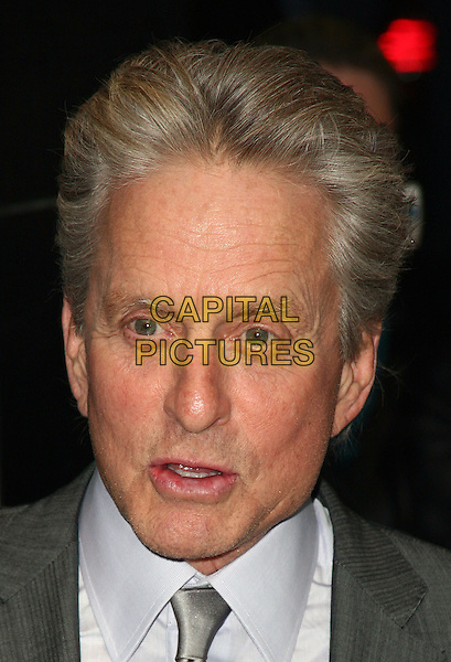 MICHAEL DOUGLAS .The New York City premiere of 'Solitary Man' at Cinema 2,  New York, NY, USA, 11th May 2010..arrivals portrait headshot grey gray tie white shirt mouth funny .CAP/ADM/PZ.©Paul Zimmerman/AdMedia/Capital Pictures.