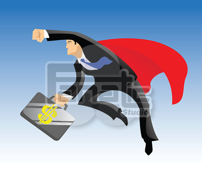 Superhero flying with a briefcase of dollar sign