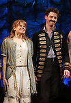 Celia Keenan-Bolger & Christian Borle.during the Broadway Opening Night Performance Curtain Call for 'Peter And The Starcatcher' at the Brooks Atkinson Theatre on 4/15/2012 in New York City.