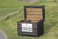 """Box of """"Divot Bags"""" at the 1st tee during Round 3 of The West of Ireland Open Championship in Co. Sligo Golf Club, Rosses Point, Sligo on Saturday 6th April 2019.<br /> Picture:  Thos Caffrey / www.golffile.ie"""