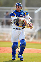 South Dakota State Jackrabbits catcher Nick Andrews #9 during a game against the St. Bonaventure Bonnies at North Charlotte Regional Park on February 23, 2013 in Port Charlotte, Florida.  South Dakota State defeated St. Bonaventure 10-5.  (Mike Janes/Four Seam Images)