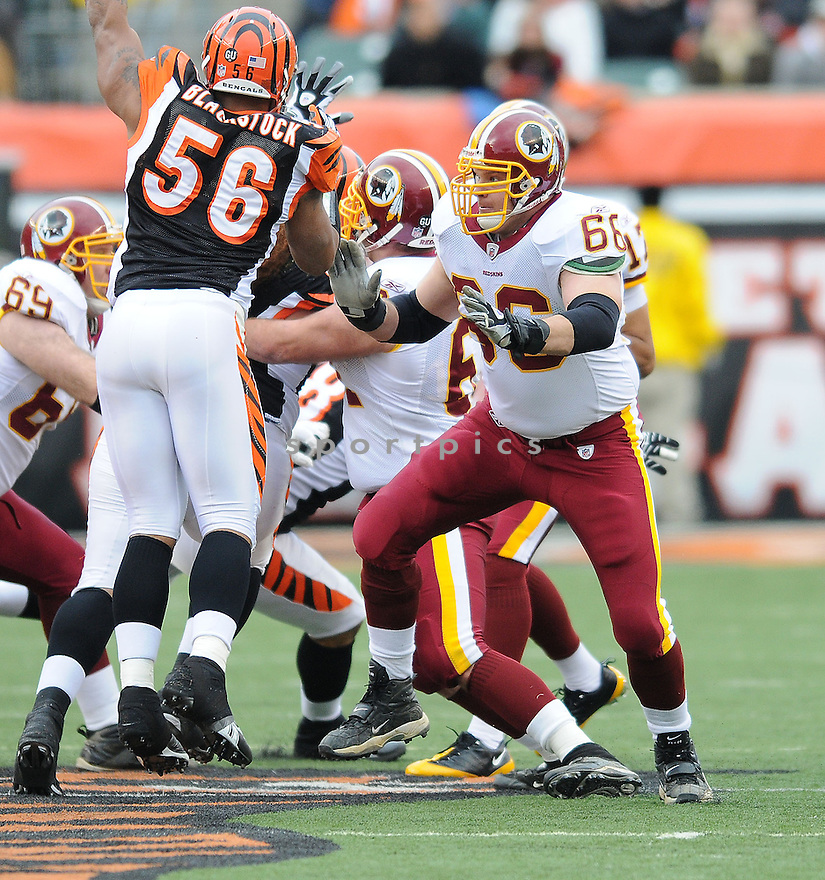 PETE KENDALL of the Washington Redskins , in action  during the Redskins game against the  Cincinnati Bengals  on December 14, 2008 in Cincinnati, OH...Bengals win 20-13