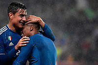 Douglas Costa of Juventus celebrates with Paulo Dybala after scoring the winning goal of 1-2<br /> Moscow 06-11-2019 Stadion Lokomotiv <br /> Football Champions League 2019/2020 Group D  <br /> Lokomotiv Moscow - Juventus <br /> Photo Federico Tardito / Insidefoto