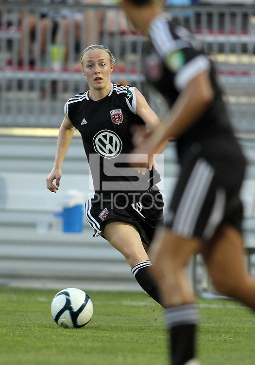 BOYDS, MARYLAND-JULY 07,2012:  US Olympian Becky Sauerbrunn (11) of DC United Women in action against the Dayton Dutch Lions during a W League game at Maryland Soccerplex, in Boyds, Maryland. DC United women won 4-1.