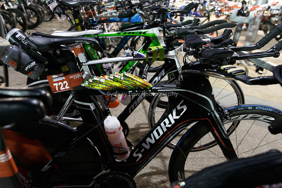 MELBOURNE, 24 MARCH - View of the bike transition area at the start of the URBAN Hotel Group IRONMAN Asia-Pacific Championship in Melbourne, Australia on Sunday March 24, 2013. (Photo Sydney Low / sydlow.com)