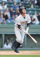 Infielder Cito Culver (23) of the Charleston RiverDogs in a game against the Greenville Drive on Opening Day, Friday, April 5, 2013, at Fluor Field at the West End in Greenville, South Carolina. (Tom Priddy/Four Seam Images)