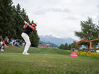 Rory Mcilroy (NIR) in action during playoff of the final round at the Omega European Masters, Golf Club Crans-sur-Sierre, Crans-Montana, Valais, Switzerland. 01/09/19.<br /> Picture Stefano DiMaria / Golffile.ie<br /> <br /> All photo usage must carry mandatory copyright credit (© Golffile | Stefano DiMaria)