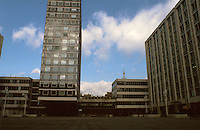 """London:  Paternoster Square near St. Paul's, 1973.  Peusner, 1973: """"Lord Wolford's outstandingly well-concieved precinct...sensible and unobstrusive"""".  SOM  (Local Advisor, David Chippingfield), 1987: """"A large, misconceived superblock. More easily bypassed than traversed...Public spaces, introverted and drab...""""  Photo '90."""