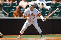 Second baseman Jordan Etier #7 of the Texas Longhorns at bat against Texas Tech on April 17, 2011 at UFCU Disch-Falk Field in Austin, Texas. (Photo by Andrew Woolley / Four Seam Images)