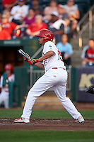 Springfield Cardinals outfielder Breyvic Valera (15) squares to bunt during a game against the Frisco RoughRiders  on June 4, 2015 at Hammons Field in Springfield, Missouri.  Frisco defeated Springfield 8-7.  (Mike Janes/Four Seam Images)