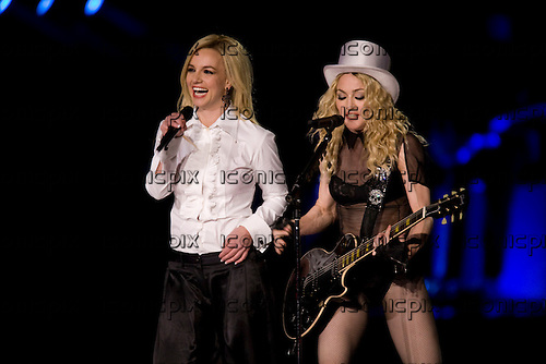 MADONNA - Britney Spears and Madonna performing live on Madonna's Sticky And Sweet Tour at Dodger Stadium in Los Angeles, California USA - November 6, 2008. Photo © Kevin Estrada / Iconicpix