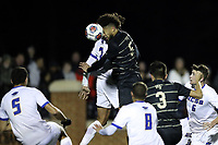 WINSTON-SALEM, NC - DECEMBER 07: Michael DeShields #5 of Wake Forest University heads a shot on goal during a game between UC Santa Barbara and Wake Forest at W. Dennie Spry Stadium on December 07, 2019 in Winston-Salem, North Carolina.