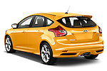 Rear three quarter view of a   2013 Ford Focus ST Stock Photo