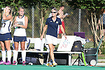 26 September 2014: Cal head coach Shellie Onstead. The Duke University Blue Devils hosted the University of California Bears at Jack Katz Stadium in Durham, North Carolina in a 2014 NCAA Division I Field Hockey match. Duke won the game 2-0.