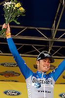 Tom Danielson, of the Discovery Channel Pro Cycling Team, celebrates taking second overall in the Ford Tour de Georgia. Floyd Landis of Phonak Hearing Systems won the six-stage Tour de Georgia.<br />