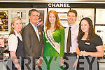 KERRY ROSE: CH CHEMIST and CHANEL proud sponsor's of Kerry's Rose Karen McGillycuddy's make up at CH Chemist on Tuesday l-r: Myra Breen (assistant manger CH Chemist), Ciara?n O'Connell (Kerry Rose Escort), Kerry Rose Karen McGillycuddy, Peter Harty (proprietor CH Chemist) and Caroline Kearney (Chanel consultant).