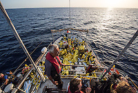 Sea Watch-2.<br /> Die Sea Watch-2 bei ihrer 13. SAR-Mission vor der libyschen Kueste.<br /> Im Bild: Crewmitglieder der Sea Watch-2 halten ausschau nach Booten mit Gefluechteten.<br /> 21.10.2016, Mediterranean Sea<br /> Copyright: Christian-Ditsch.de<br /> [Inhaltsveraendernde Manipulation des Fotos nur nach ausdruecklicher Genehmigung des Fotografen. Vereinbarungen ueber Abtretung von Persoenlichkeitsrechten/Model Release der abgebildeten Person/Personen liegen nicht vor. NO MODEL RELEASE! Nur fuer Redaktionelle Zwecke. Don't publish without copyright Christian-Ditsch.de, Veroeffentlichung nur mit Fotografennennung, sowie gegen Honorar, MwSt. und Beleg. Konto: I N G - D i B a, IBAN DE58500105175400192269, BIC INGDDEFFXXX, Kontakt: post@christian-ditsch.de<br /> Bei der Bearbeitung der Dateiinformationen darf die Urheberkennzeichnung in den EXIF- und  IPTC-Daten nicht entfernt werden, diese sind in digitalen Medien nach &sect;95c UrhG rechtlich geschuetzt. Der Urhebervermerk wird gemaess &sect;13 UrhG verlangt.]