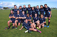 PNGHS pose for a team photo after the 2019 Hurricanes Youth Council Under-15 Girls' Rugby Tournament match between Palmerston North Girls' High School and Mana College at Playford Park in Levin, New Zealand on Tuesday, 3 September 2018. Photo: Dave Lintott / lintottphoto.co.nz