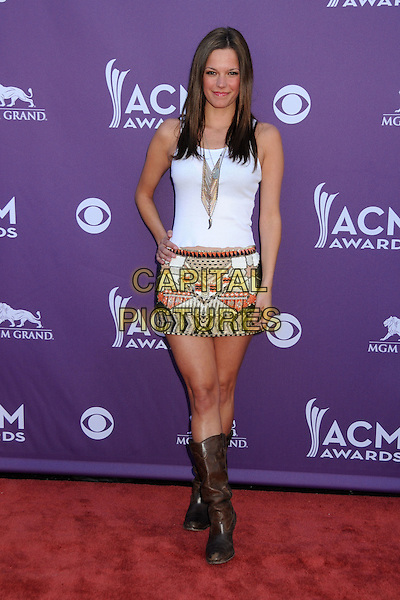 Amanda Watkins, Miss Willie Brown.47th Annual Academy of Country Music Awards held at the MGM Grand, Las Vegas, Nevada, USA..April 1st, 2012.full length white top print skirt hand on hip brown boots CMA ACM.CAP/ADM/BP.©Byron Purvis/AdMedia/Capital Pictures.