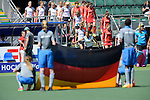 The Hague, Netherlands, June 13: Players of both teams enter the pitch before the field hockey placement match (Women - Place 7th/8th) between Korea and Germany on June 13, 2014 during the World Cup 2014 at Kyocera Stadium in The Hague, Netherlands. Final score 4-2 (2-0)  (Photo by Dirk Markgraf / www.265-images.com) *** Local caption ***