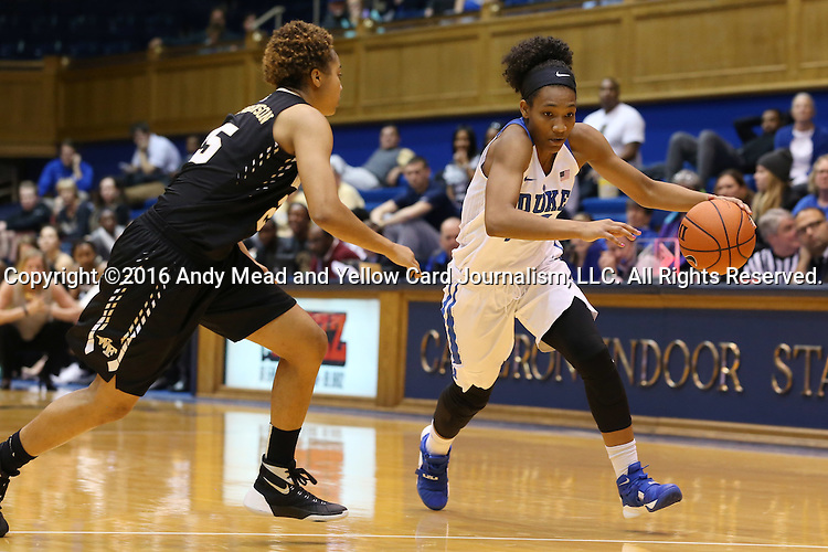 07 January 2016: Duke's Crystal Primm (right) and Wake Forest's Ariel Stephenson (left). The Duke University Blue Devils hosted the Wake Forest University Demon Deacons at Cameron Indoor Stadium in Durham, North Carolina in a 2015-16 NCAA Division I Women's Basketball game. Duke won the game 95-68.