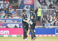 Kane Williamson (New Zealand) is congratulated on his half century by Ross Taylor (New Zealand) during India vs New Zealand, ICC World Cup Semi-Final Cricket at Old Trafford on 9th July 2019