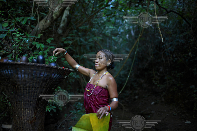 A Mro (Mru) woman in the forests around her village in the Chittagong Hill Tracts.