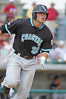 The Coastal Carolina University Chanticleers DH Adam Rice #29 running to 1st base during the 2nd and deciding game of the NCAA Super Regional vs. the University of South Carolina Gamecocks on June 13, 2010 at BB&T Coastal Field in Myrtle Beach, SC.  The Gamecocks defeated Coastal Carolina 10-9 to advance to the 2010 NCAA College World Series in Omaha, Nebraska. Photo By Robert Gurganus/Four Seam Images