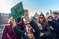 New York, USA 17 February 2017 - Activists rallied in Washington Square, in solidary with the  General Strike, to protest Trump Administration and their anti-democratic policies.  ©Stacy Walsh Rosenstock/Alamy