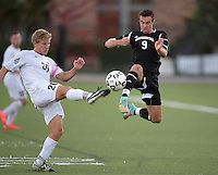 Oct 29, 2014; Orange, CA, USA; Occidental College Tigers forward Grayson Burdon (9) against the Chapman College Panthers. Photo by Kirby Lee