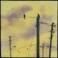 Mixed media encaustic painting of golden sky with crows on power lines.