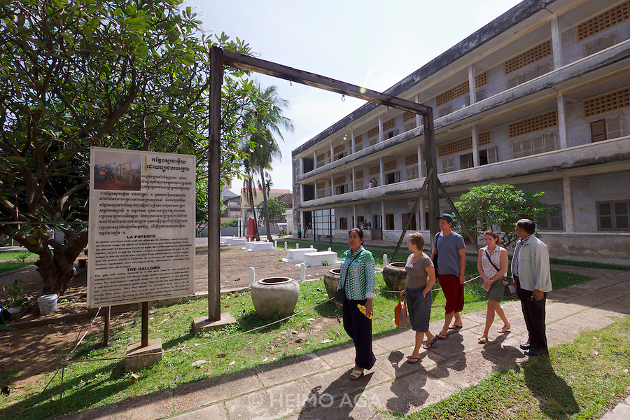 Phnom Penh, Cambodia. Tuol Sleng Genocide Museum at the former Security Prison 21 (S-21) of the Khmer Rouge. Gallows used for drowning torture and other atrocities.