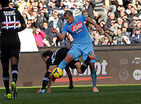 Gokhan Inler  durante l'incontro di calcio di Serie A  Napoli Sampdoria allo  Stadio San Paolo  di Napoli , 6 gennaio 2014