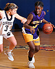 Naabea Assibey-Bonsu #3 of Central Islip, right, gets pressured by Katie Kelly #3 of Commack during a Suffolk Shootout tournament game at Northport High School on Thursday, Dec. 28, 2017. Commack won by a score of 58-34.