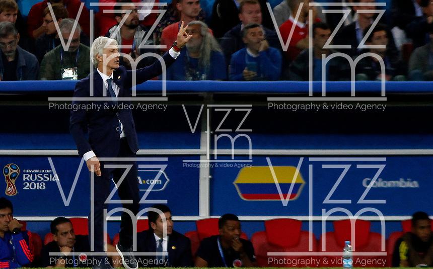 MOSCU - RUSIA, 03-07-2018: Jose PEKERMAN técnico de Colombia durante partido de octavos de final contra Inglaterra por la Copa Mundial de la FIFA Rusia 2018 jugado en el estadio del Spartak en Moscú, Rusia. / Jose PEKERMAN coach of Colombia during match of the round of 16 for the FIFA World Cup Russia 2018 played at Spartak stadium in Moscow, Russia. Photo: VizzorImage / Julian Medina / Cont