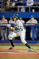 Siena Saints second baseman Jordan Bishop (4) hits a single during a game against the Florida Gators on February 16, 2018 at Alfred A. McKethan Stadium in Gainesville, Florida.  Florida defeated Siena 7-1.  (Mike Janes/Four Seam Images)
