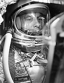 Cape Canaveral, FL (FILE) -- A closeup of astronaut Alan Shepard in his space suit seated inside the Mercury capsule on Saturday, April 29, 1961. He is undergoing a flight simulation test with the capsule mated to the Redstone booster..Credit: NASA via CNP