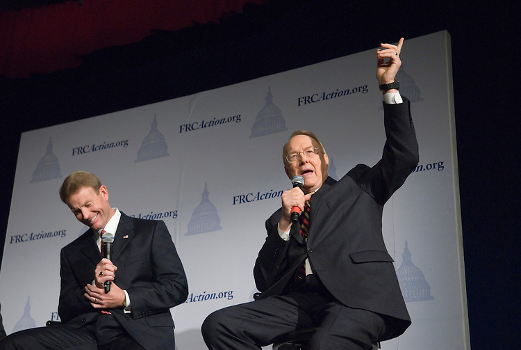 From left, Tony Perkins, president of FRC, and Dr. James Dobson, founder and chairman of Focus on the Family, speak during a Q&A session the Family Research Council's 2006 Values Voter Summit in Washington on Sept. 22, 2006. Also on the panel was Alan Sears, president and CEO for the Alliance Defense Fund.