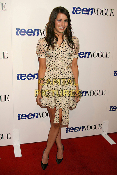 "EMMA ROBERTS.Teen Vogue's 2007 ""Young Hollywood"" Issue Party at Vibiana, Los Angeles, California, USA,.20 September 2007..full  length cream and black blue polka dot print shirt dress belt.CAP/ADM/RE.©Russ Elliot/AdMedia/Capital Pictures."