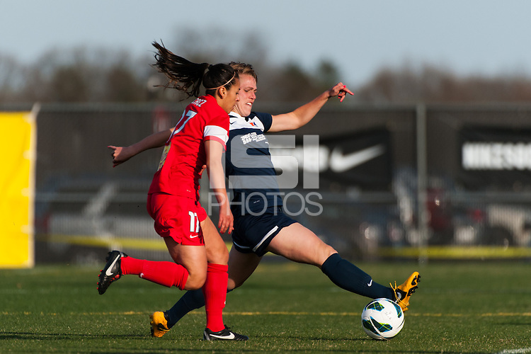 Sky Blue FC midfielder Sophie Schmidt (16) is marked by Western New York Flash midfielder Veronica Perez (17). Sky Blue FC defeated the Western New York Flash 1-0 during a National Women's Soccer League (NWSL) match at Yurcak Field in Piscataway, NJ, on April 14, 2013.